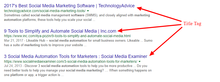 Search Results Title Tags